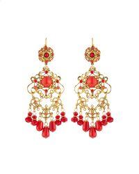 Jose & Maria Barrera | Golden Coral-beaded Chandelier Earrings | Lyst