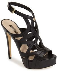 Guess Women'S 'Kaesy' Cutout Leather Platform Sandal - Lyst