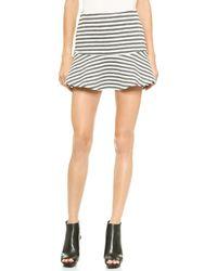 Joa Striped Embo Skirt  Charcoalwhite - Lyst