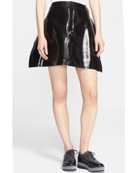 Junya Watanabe Perforated Enamel A-Line Skirt black - Lyst