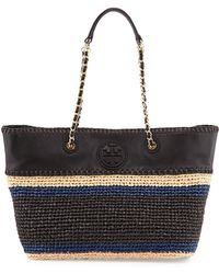 Tory Burch Marion Striped Straw Tote Bag - Lyst