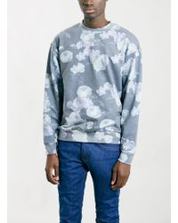 Topman Charcoral Floral Oversized Sweatshirt - Lyst