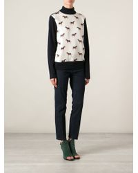Tory Burch Horse Print Panel Sweater - Lyst