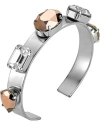 Mews London - Rose Crystal 5 Stone Silver Bangle - Lyst