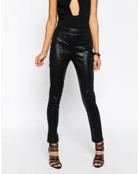 Asos Wet Look Skinny Trousers - Lyst