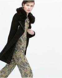Zara Zipped Fur Coat black - Lyst