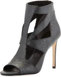 Rachel Roy Lexi Floral Embossed Cutout Sandal Black 6 - Lyst