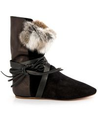 Isabel Marant Nia Suede Leather and Fur Boots - Lyst