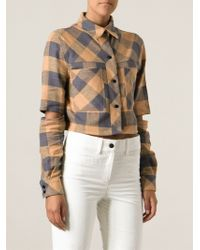 Filles A Papa Cropped Checked Shirt - Lyst