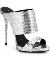 Giuseppe Zanotti Suede & Snake-Embossed Leather Sandals - Lyst