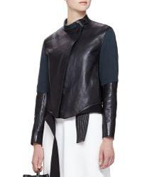 3.1 Phillip Lim Judo Leather-silk Asymmetric Jacket - Lyst