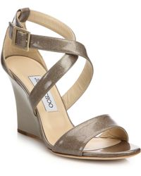 Jimmy Choo | Fearne Glitter Patent Leather Wedge Sandals | Lyst