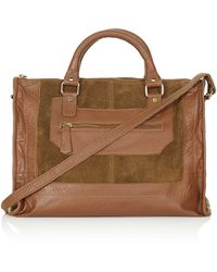 Topshop Suede and Leather Holdall  Chestnut - Lyst