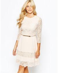 Oasis lace bodycon dress cream