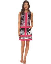 Adrianna Papell Placement Print A-Line Dress - Lyst