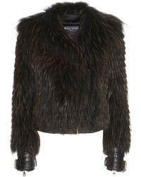 Balmain Fur Biker Jacket - Lyst