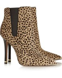 Michael Kors - Andie Snake-trimmed Leopard-print Calf Hair Boots - Lyst