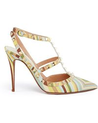 Valentino   'rockstud Native Couture' Print Caged Leather Pumps   Lyst