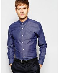 Number Eight Savile Row - Exclusive Chambray Shirt With Button Down Collar In Skinny Fit - Lyst