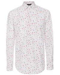 Paul Smith White And Red Floral Print Byard Shirt - Lyst