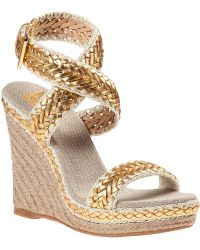 Tory Burch Lilah Wedge Espadrille Gold Leather - Lyst