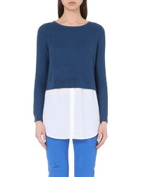 Sandro Shirt-Detail Knitted Jumper - Lyst