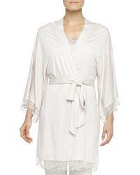 Eberjey Cassandra Lacetrimmed Kimono Robe Moonbeam Small - Lyst