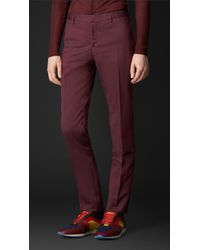Burberry Cotton Silk Tapered Trousers - Lyst