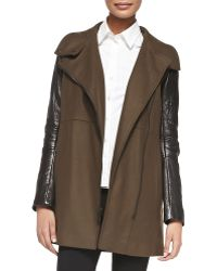 Andrew Marc Lara Leather-sleeve Long Jacket - Lyst
