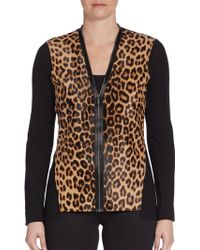 Elie Tahari Leopard-print Calf Hair  Wool Sweater - Lyst