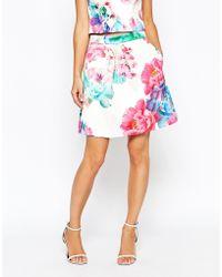 Coast - Printed Bonded Satin Skirt - Lyst