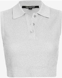 Neil Barrett Silver Lurex Collared Knit Top - Lyst