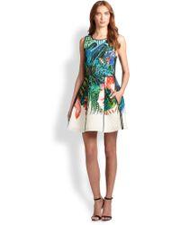 Roberto Cavalli Quilted Tropical-Print Silk Dress - Lyst