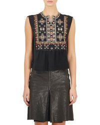 Isabel Marant Embroidered Russ Top black - Lyst