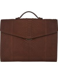 Zagliani Python Gusseted Briefcase - Lyst