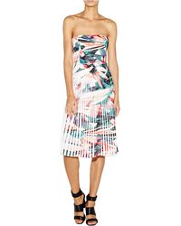 Nicole Miller Floral Print Strapless Pleated Dress white - Lyst
