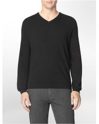 Calvin Klein White Label Cotton Modal V-Neck Sweater black - Lyst