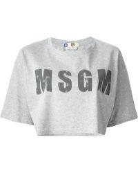 MSGM Logo Print Cropped T-Shirt - Lyst