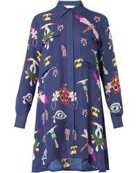 Mary Katrantzou Oriane Symbolprint Silk Shirt Dress - Lyst
