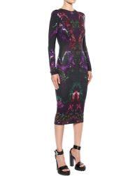 Alexander McQueen Moth Print Jersey Ruffle Dress - Lyst