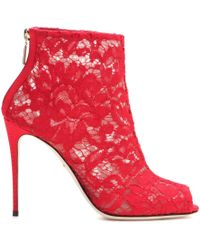 Dolce & Gabbana Lace Open-Toe Ankle Boots - Lyst
