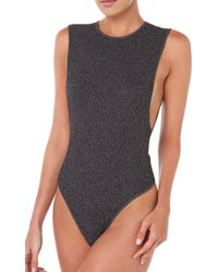 Rehab - Black Ribbed Out Bodysuit - Lyst