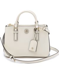 Tory Burch Robinson Colorblock Micro Double Zip Tote - New Ivory/Tory Navy - Lyst