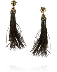 Oscar de la Renta Gold-plated Crystal Bead and Feather Clip Earrings - Lyst
