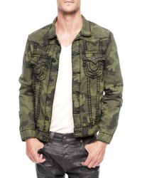 True Religion Jimmy Olive Green Super T Camo Mens Jacket - Lyst