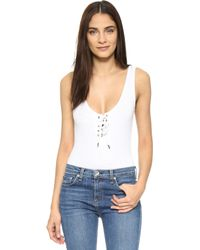 Re:named - Speckled Lace Up Bodysuit - Lyst