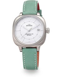 Shinola Gomelsky Stainless Steel & Leather Strap Watch/Teal - Lyst