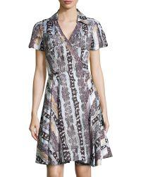 Diane von Furstenberg Printed Short-Sleeve Woven Dress - Lyst
