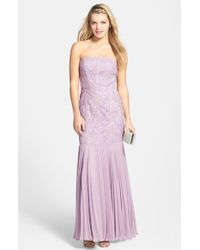 JS Collections Lace & Chiffon Strapless Trumpet Gown - Lyst