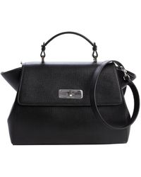 Armani Black Leather Top Handle Bag - Lyst